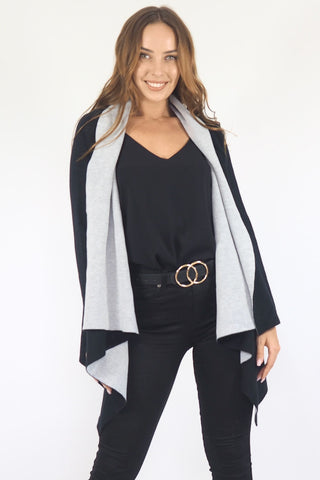 Kaya Jacket/Cardigan- Black/Grey