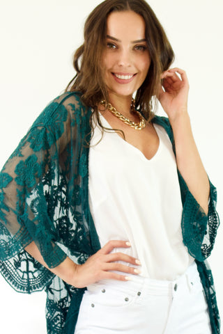 Monet Short Lace Kimono- Forest Green
