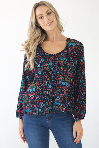 Clementine Blouse- Black/ Multi colour