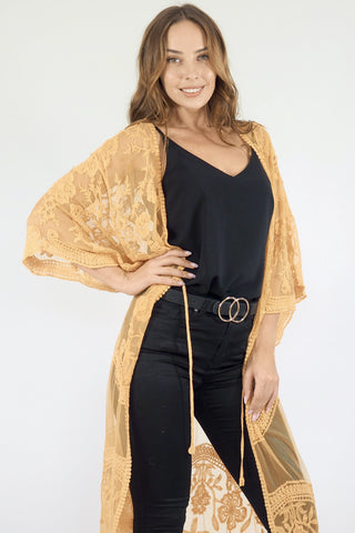 Fleetwood Lace Cape Kimono-Yellow/Orange/Mustard