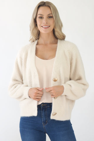 Shayna Cardi with brushed gold buttons- Cream