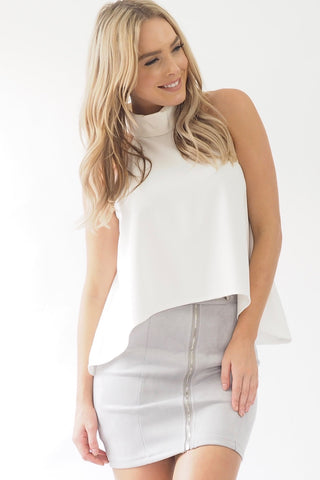 Kama high neck top - White - Sage Collective