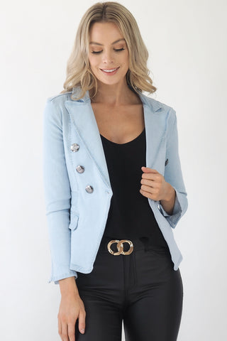 Classic blazer stretch Denim jacket- Light Blue