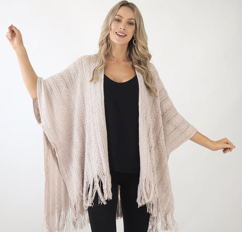 Knit poncho- Dusty light Pink