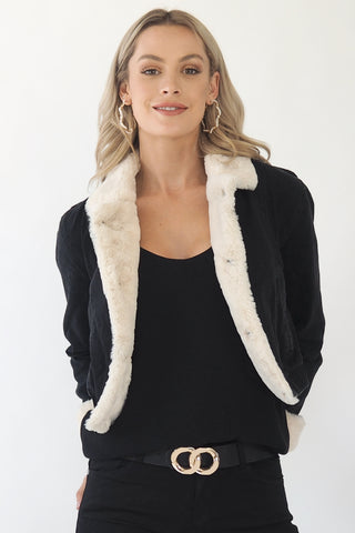 Jodi denim and fur jacket - black