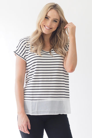 Basics stripe Top - white