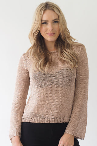 Venus Metallic Knit Jumper ~ Rose Gold