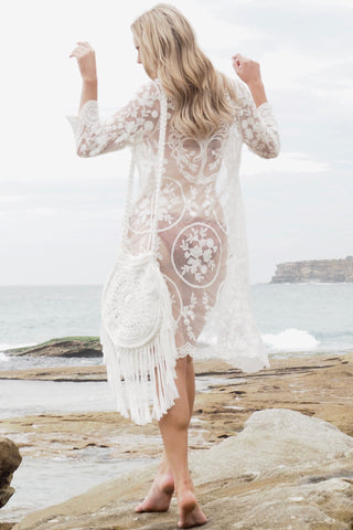 TREE OF LIFE LACE CAPE- White