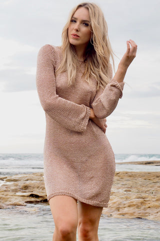 Venus Metallic Knit Dress ~ Rose Gold