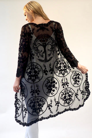 Fleetwood Lace Cape Kimono-Tree of Life -Black