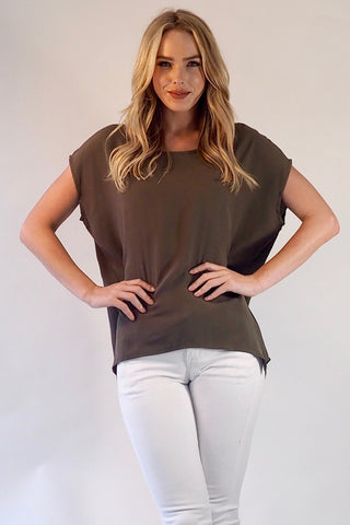 Basic Tee in Basic Khaki Shirt