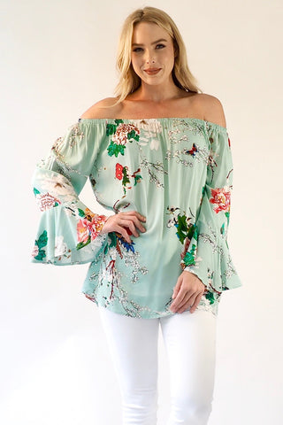 Sophia Bell Sleeve Top - Mint