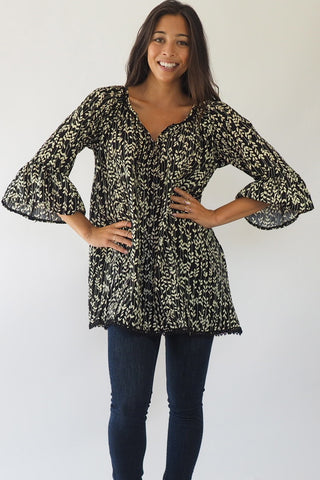 Black leaves Tunic