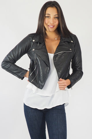 Kate Leather cropped Biker Jacket, Recycled Leather