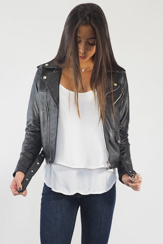 Leather Biker Jacket - Recycled leather jacket - Sage Collective
