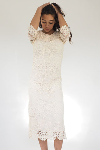 Faye Cream Lace Dress - Midi Vintage Lace Dress
