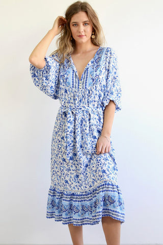 Clare midi dress- White/Blue- Size 6-16