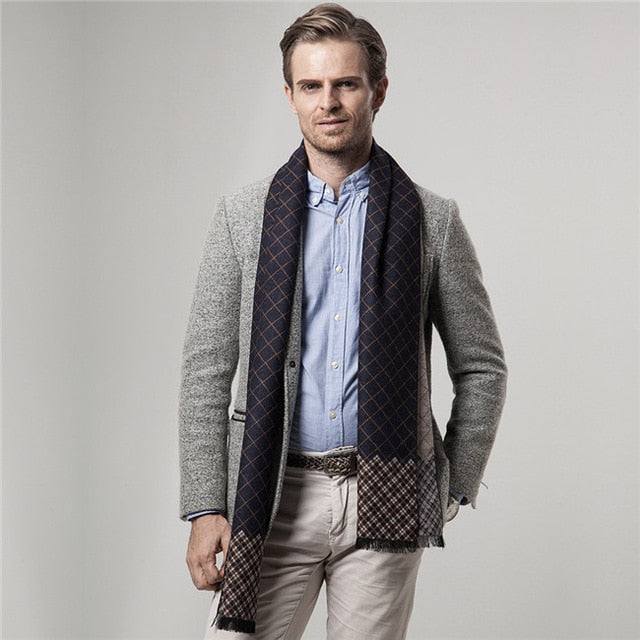 Men's Plaid Cashmere Scarf