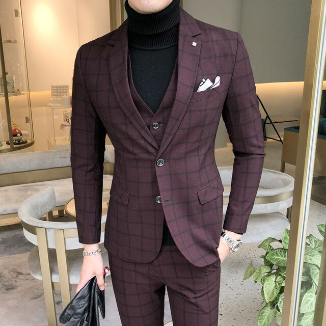 Grey Check Formal Suit