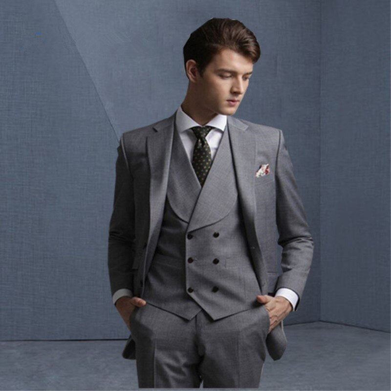 Double Breasted Smoking Gray Suit