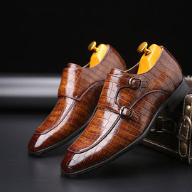 Classic Crocodile Pattern Business Shoes