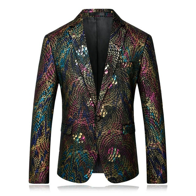Mens Colorful Printed Blazer