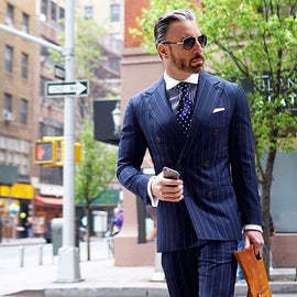 Double Breasted Navy Blue Suit