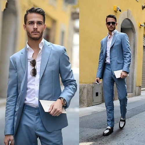 Light Blue Men's Latest Skinny Formal Suit