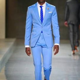Blue Men Custom Made Casual Suit