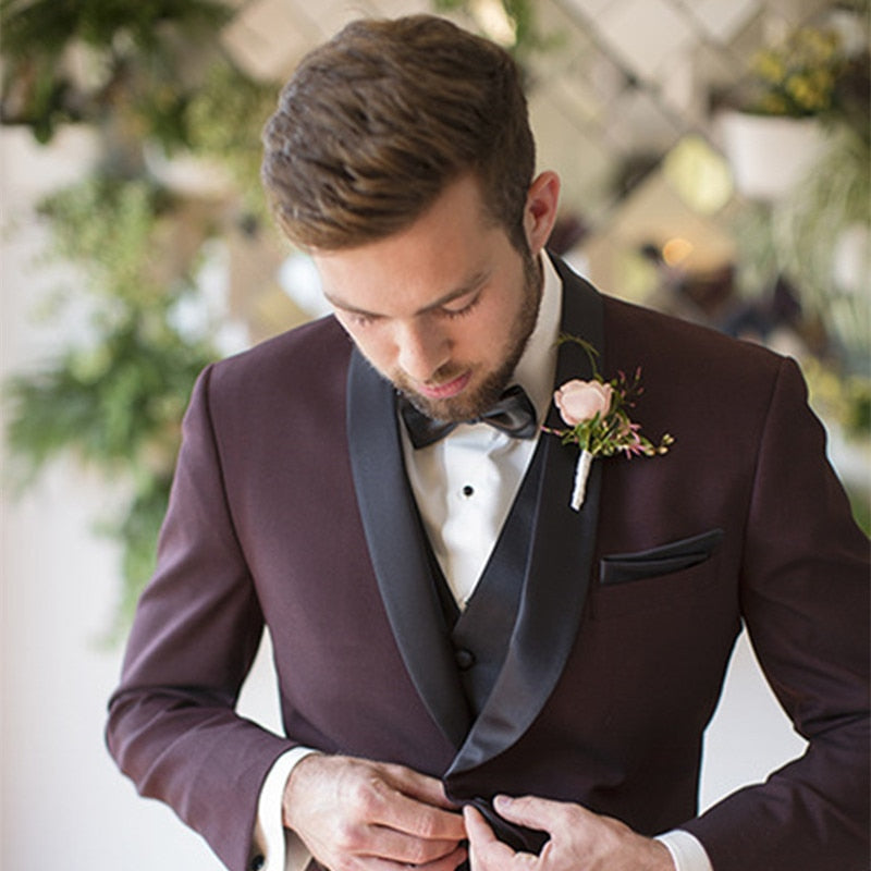 Wine Red Slim Fit Suit