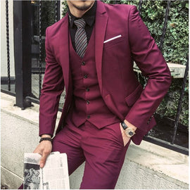 Red Tailored Made Slim Fit Suit