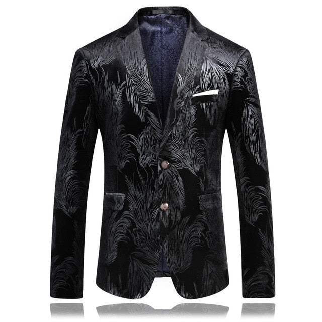 Stylish Black Velvet Party Blazer