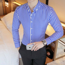 Men's Contrast Vertical Striped Dress Shirt