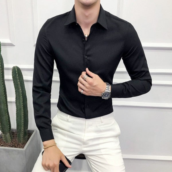 Long Sleeve Solid Formal Business Shirt