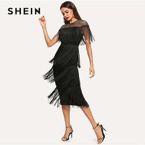 SHEIN Black Highstreet Party Going Out Elegant Sheer Yoke Layered Fringe  Detail Dress 2018 Autumn Modern 72a3dbe06d9f