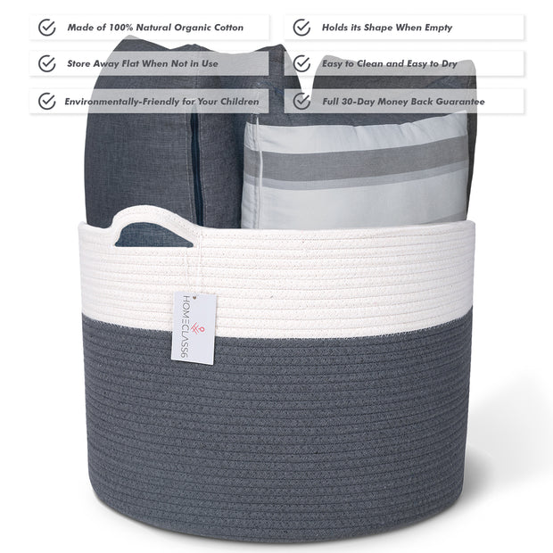 Cotton Rope Storage Basket (Graphite)