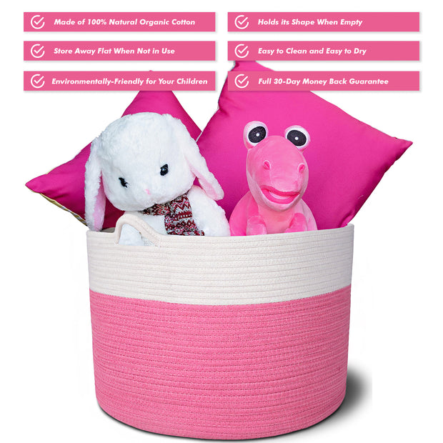 Cotton Rope Storage Basket (Pink)