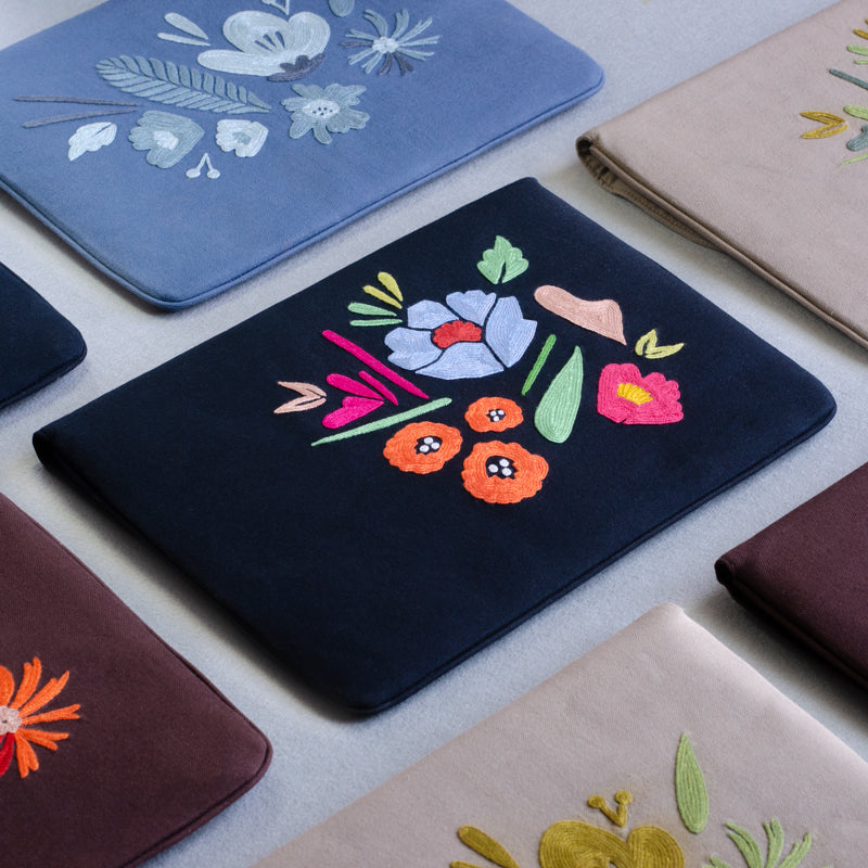Bouquet Series - Laptop Sleeve (Black 1) - Made in Kashmir