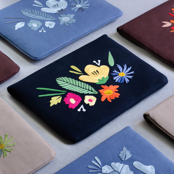 Bouquet Series - Laptop Sleeve (Black 2) - Made in Kashmir