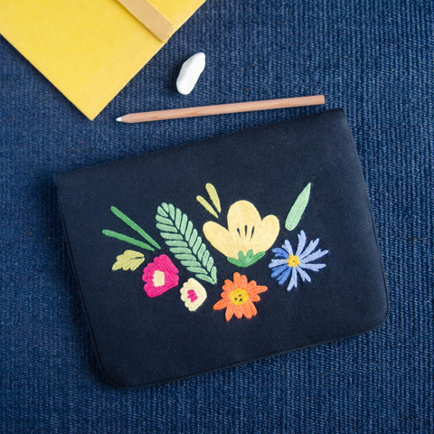 Bouquet Series - Mini-Tablet Sleeve (Black 2) - Made in Kashmir