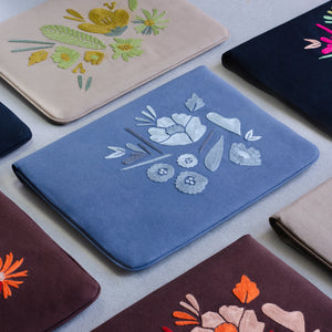 Bouquet Series - Laptop Sleeve (Blue 1) - Made in Kashmir