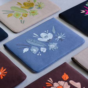 Bouquet Series - Laptop Sleeve (Blue 2) - Made in Kashmir