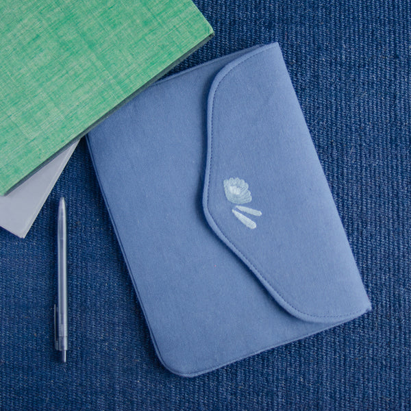 Bouquet Series - Mini-Tablet Sleeve (Blue 2) - Made in Kashmir
