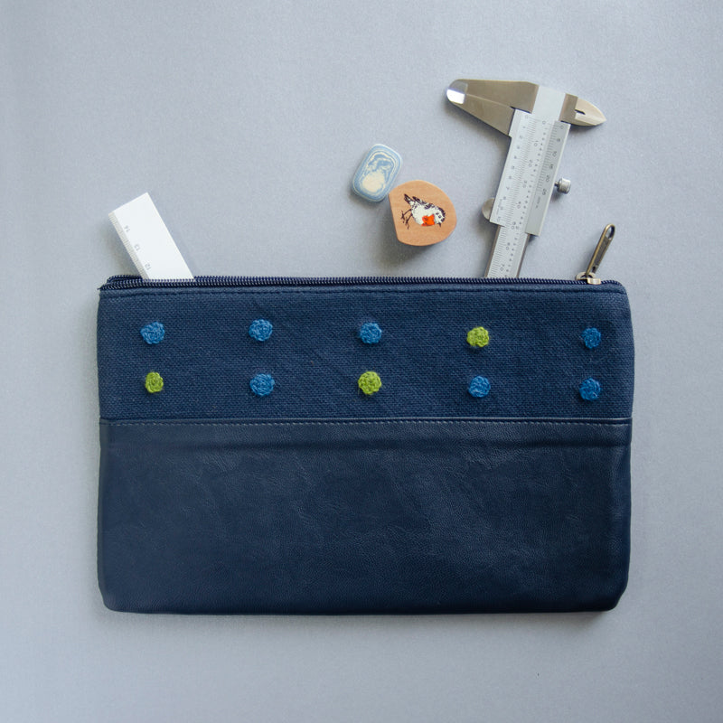 Crewel Dot Pouch (Blue & Blue) - Made in Kashmir