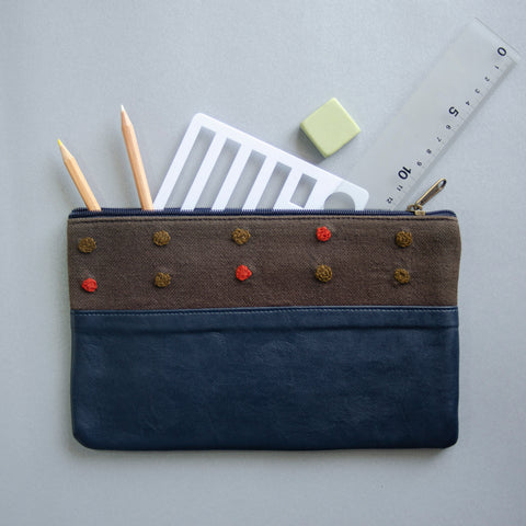 Crewel Dot Pouch (Blue & Brown) - Made in Kashmir