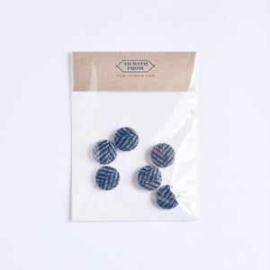 Herringbone Button Set (6 Blue)