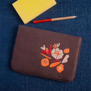 Bouquet Series - Mini-Tablet Sleeve (Dark Brown 1) - Made in Kashmir