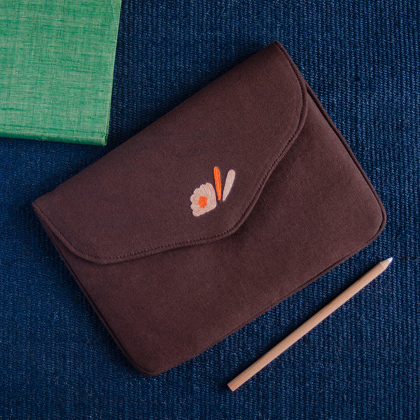 Bouquet Series - Mini-Tablet Sleeve (Dark Brown 2) - Made in Kashmir