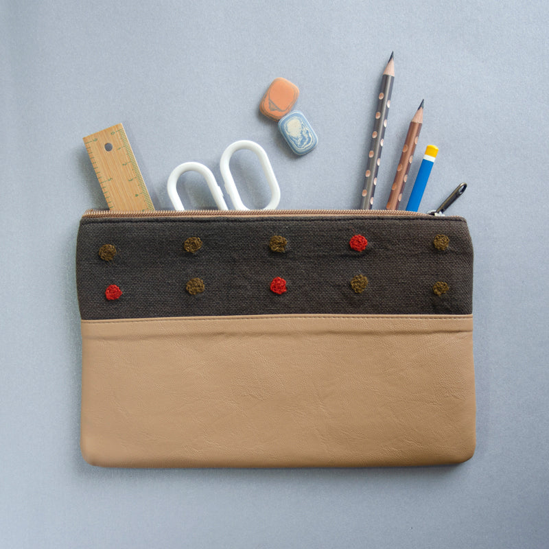 Crewel Dot Pouch (Brown & Brown) - Made in Kashmir