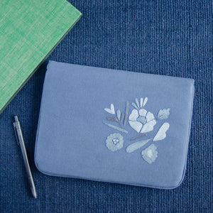Bouquet Series - Mini-Tablet Sleeve (Blue 1) - Made in Kashmir